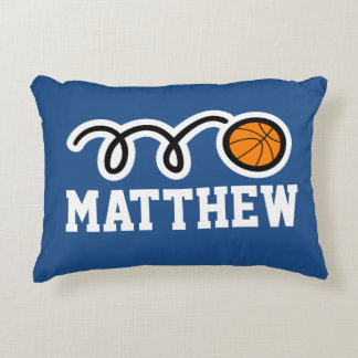 Personalized kids pillow with cute basketball ball