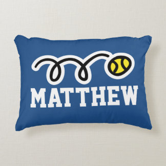 Personalized kids pillow with cute tennis ball