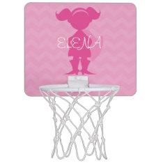 Personalized Kids Pink Superhero Girl Silhouette Mini Basketball Hoop at Zazzle
