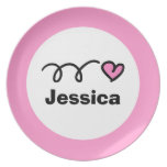 Personalized kids plate   Pink heart for girls