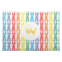 Personalized Kids Rainbow Bunny Silhouette Cute Placemat