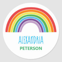 Personalized Kids Rainbow Colorful Classic Round Sticker