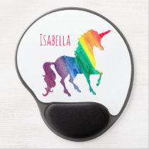 Personalized Kids Rainbow Unicorn Cool Watercolor Gel Mouse Pad