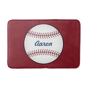 Personalized Kids Red Baseball Bathroom Mat Rug