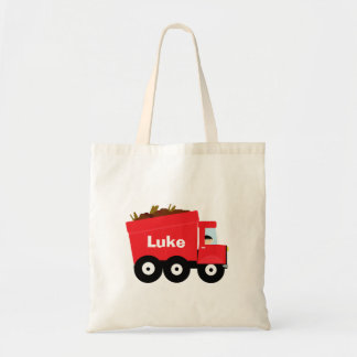 Personalized Kids Red Dump Truck Tote Bag