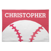 Personalized Kids Red White Baseball Sports Cloth Placemat