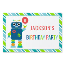 Personalized Kids Robot Birthday Party Sign