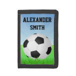 Personalized Kids Soccer Ball Green Grass Trifold Wallet