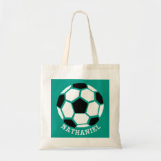 Personalized Kids Soccer Sports Green Sport Tote Bag at Zazzle