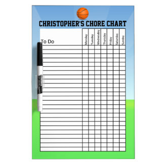 Personalized Kid's Sports Basketball Chore Chart Dry-Erase Board