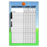 Personalized Kid's Sports Basketball Chore Chart Dry-Erase Whiteboard