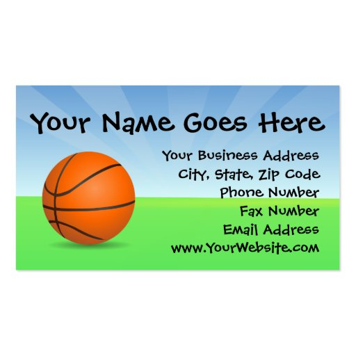 Personalized Kid's Sports Basketball Sunny Day Business Card Template