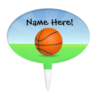Personalized Kid's Sports Basketball Sunny Day Cake Topper