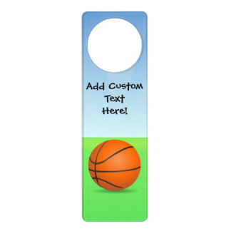 Personalized Kid's Sports Basketball Sunny Day Door Knob Hangers