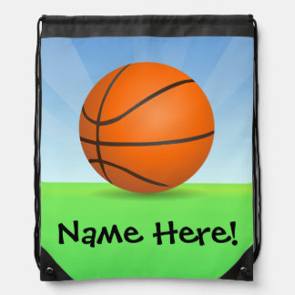 Personalized Kid's Sports Basketball Sunny Day Drawstring Backpack