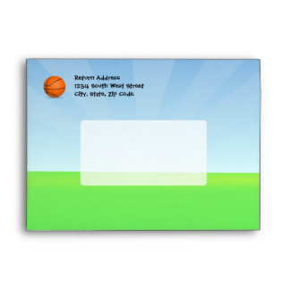 Personalized Kid's Sports Basketball Sunny Day Envelope