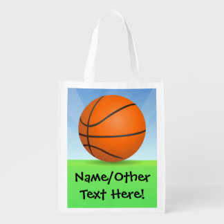 Personalized Kid's Sports Basketball Sunny Day Grocery Bag