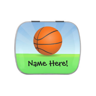 Personalized Kid's Sports Basketball Sunny Day Jelly Belly Tin