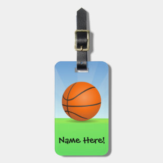 Personalized Kid's Sports Basketball Sunny Day Tags For Bags
