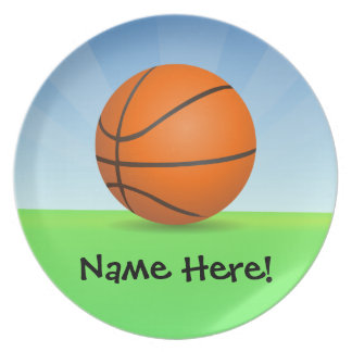 Personalized Kid's Sports Basketball Sunny Day Melamine Plate