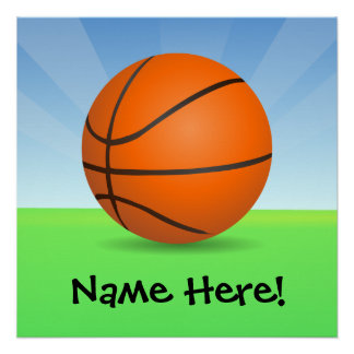 Personalized Kid's Sports Basketball Sunny Day Poster