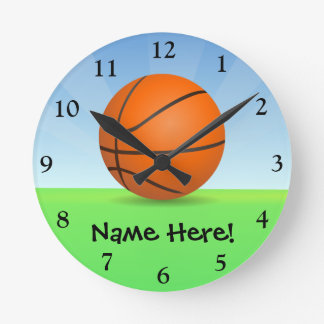 Personalized Kid's Sports Basketball Sunny Day Round Clock