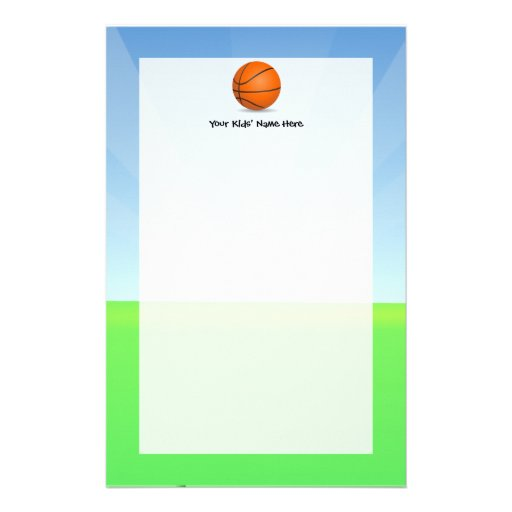 Personalized Kid's Sports Basketball Sunny Day Stationery Design