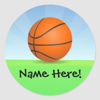 Personalized Kid's Sports Basketball Sunny Day Sticker