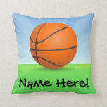 Personalized Kid's Sports Basketball Sunny Day Throw Pillow