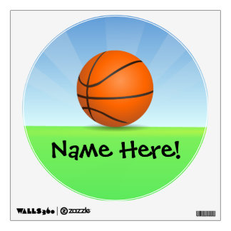 Personalized Kid's Sports Basketball Sunny Day Wall Decal