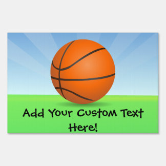 Personalized Kid's Sports Basketball Sunny Day Yard Sign