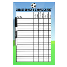 Personalized Kid's Sports Soccer Ball Chore Chart Dry Erase Board at Zazzle