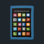 """Personalized kids wallet with colorful app icons<br><div class=""""desc"""">Personalized kids wallet with colorful app icons. Smartphone / ipad computer screen design. Geeky gift idea for boys and girls.</div>"""