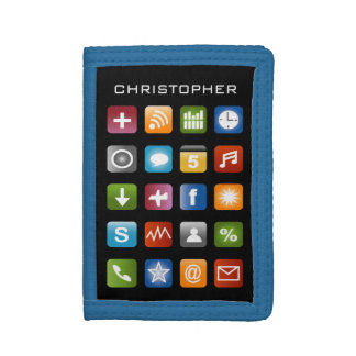 Personalized kids wallet with colorful app icons