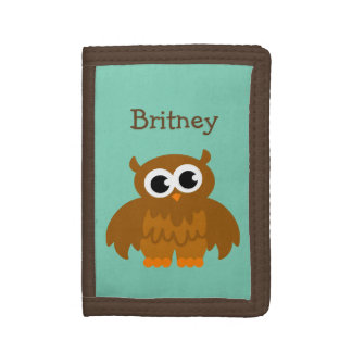 Personalized kids wallet with cute brown owl bird