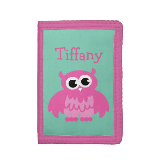 Personalized kids wallet with cute girly pink owl
