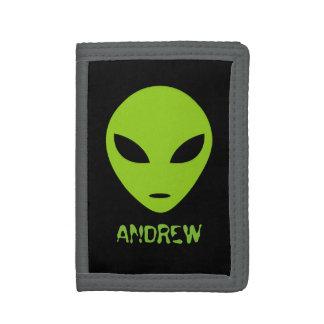 Personalized kids wallet with green alien head