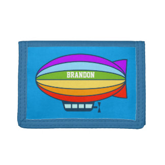 Personalized kids wallet with toy zeppelin balloon