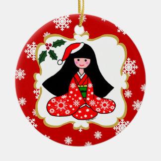 Personalized Kimono Girl Christmas Cartoon Christmas Tree Ornament