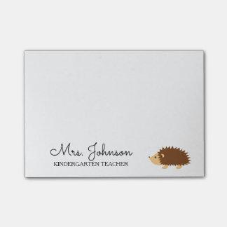 Personalized kindergarten school teacher hedgehog post-it notes