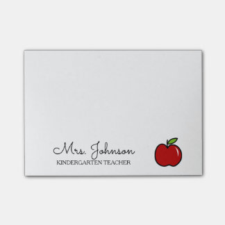 Personalized kindergarten school teacher red apple post-it notes