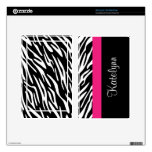 Personalized Kindle Zebra Monogram Skin Cover Kindle Fire Decal<br><div class='desc'>Personalized Kindle zebra print monogram skin cover featuring black and white zebra stripes with a pink border. 