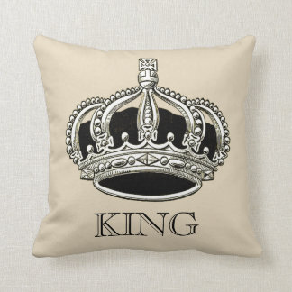 Personalized King and Queen Crown Throw Pillow