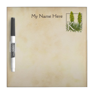 Personalized King's Spear Floral Monogram Dry Erase Boards