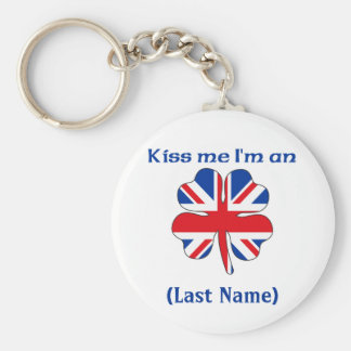 Personalized Kiss Me I'm British Personalized Keyc Basic Round Button Keychain