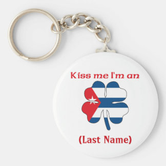 Personalized Kiss Me I'm Cuban(An), (Last Name) Basic Round Button Keychain