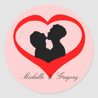 Personalized Kissing Heart Classic Round Sticker