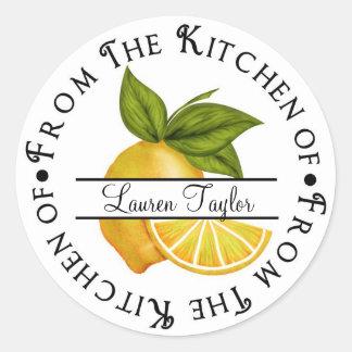 Personalized Kitchen Baking Stickers- Lemons