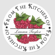 Personalized Kitchen Baking Stickers- Raspberries