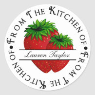 Personalized Kitchen Baking Stickers- Strawberries